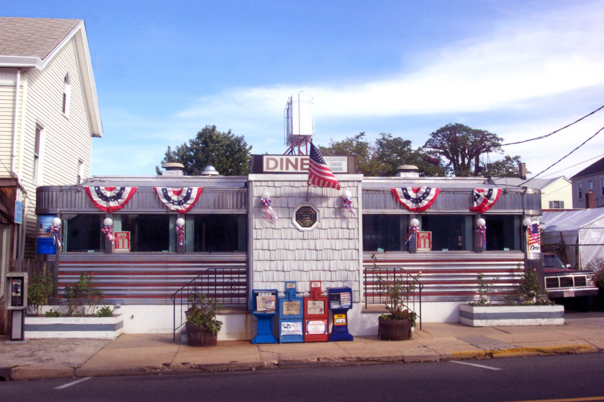 Outside image of diner decorated for 4th of July
